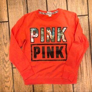 VS PINK Orange Camo Floral Spell Out Crewneck